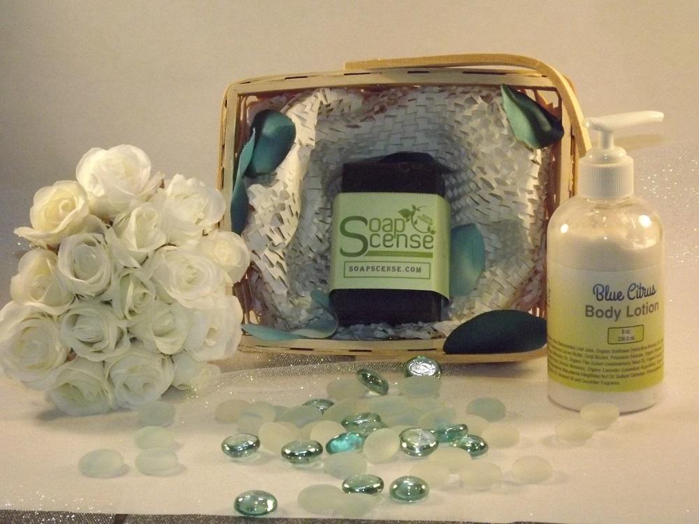 SoapScense wedding soap basket  and lotion